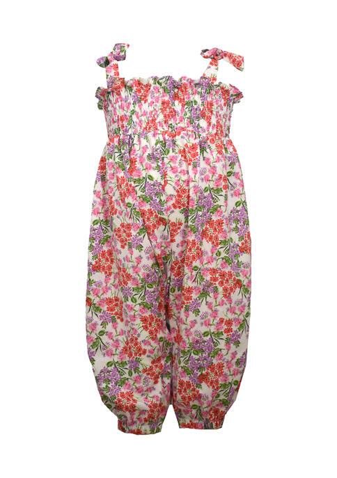 Bonnie Jean Baby Girls Floral Smocked Jumpsuit