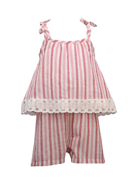 Bonnie Jean Toddler Girls Sleeveless Stripe Popover Romper