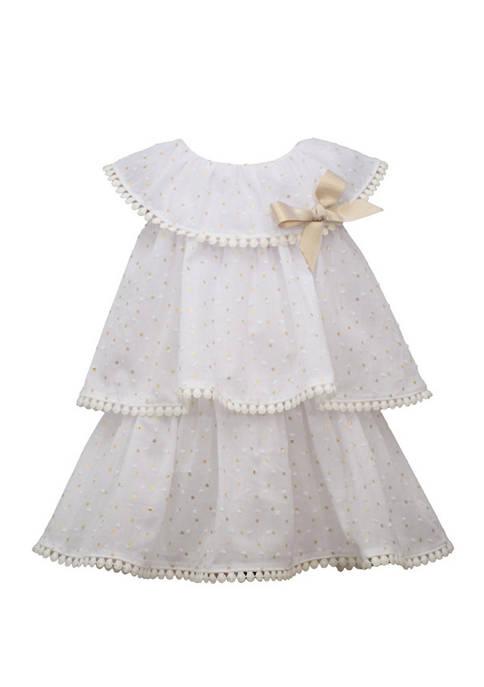 Toddler Girls Sleeveless Foil Clip Dot Dress