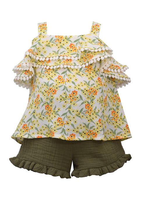 Bonnie Jean Toddler Girls Floral Gauze Shorts Set