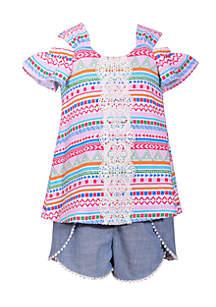 Cold Shoulder Chambray Shorts Set Toddler Girls