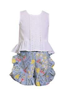 2-Piece Button Back Ruffle Short Set Toddler Girls 4-6x