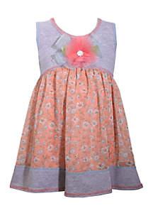 Knit Flower Empire Dress Toddler Girls