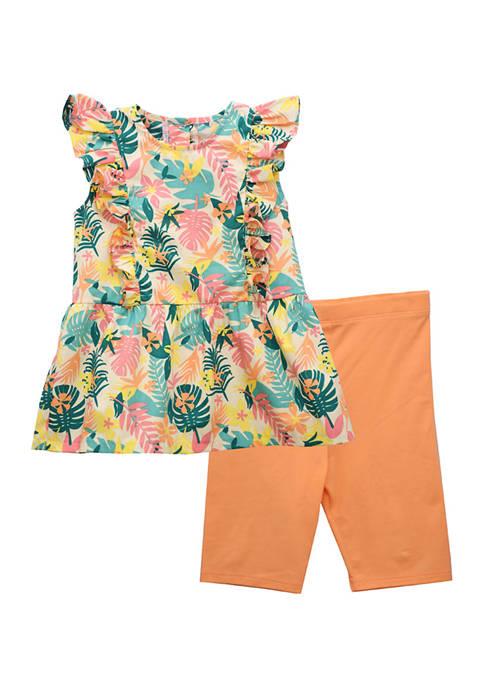 Bonnie Jean Toddler Girls Tropical Print Short Set
