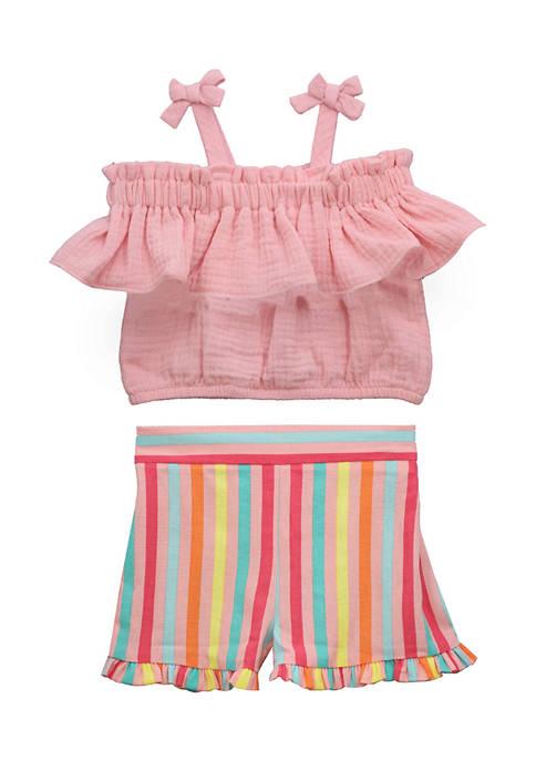 Bonnie Jean Toddler Girls 2 Piece Striped Shorts