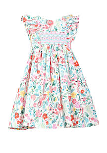 Bonnie Jean Toddler Girls Flamingo Print Smocked Dress