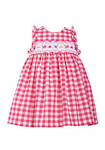 Bonnie Jean Toddler Girls Gingham Check Dress with Floral Smocking
