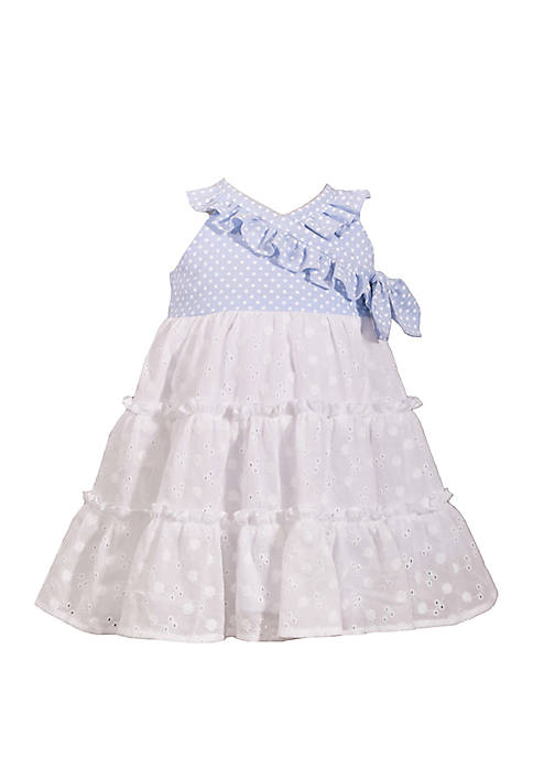 Bonnie Jean Toddler Girls Chambray with Eyelet Tier