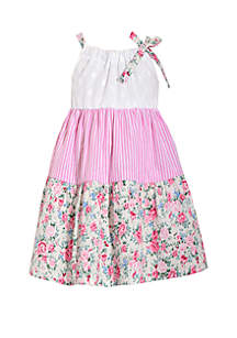 df05b2f7dc ... Bonnie Jean Toddler Girls Eyelet Sundress with Floral Stripe Tiers
