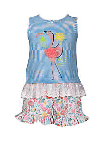 Bonnie Jean Toddler Girls Flamingo Top and Short Set
