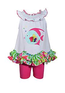 Bonnie Jean Toddler Girl Ruffle Hem Fish Short Set