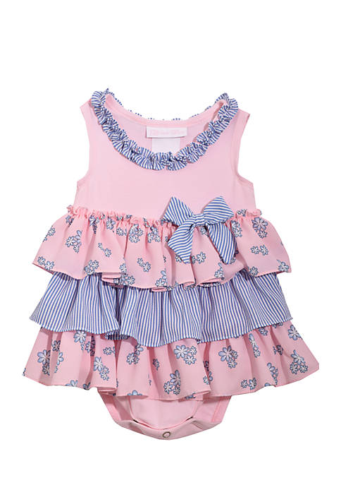 Bonnie Jean Knit Print Crepe Bubble One-Piece Infant