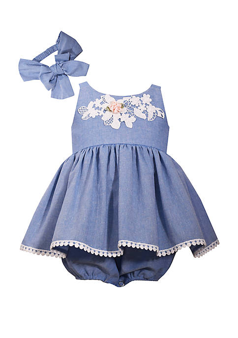 Bonnie Jean Baby Girls Chambray Bubble Dress Set