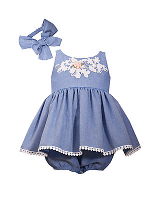 2aae7fd8b Bonnie Jean. Bonnie Jean Baby Girls Chambray Bubble Dress Set