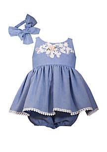 Bonnie Jean Baby Girls Chambray Bubble Dress Set