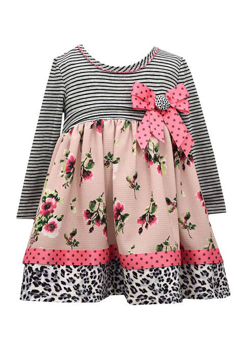 Bonnie Jean Baby Girls Mixed Print Dress