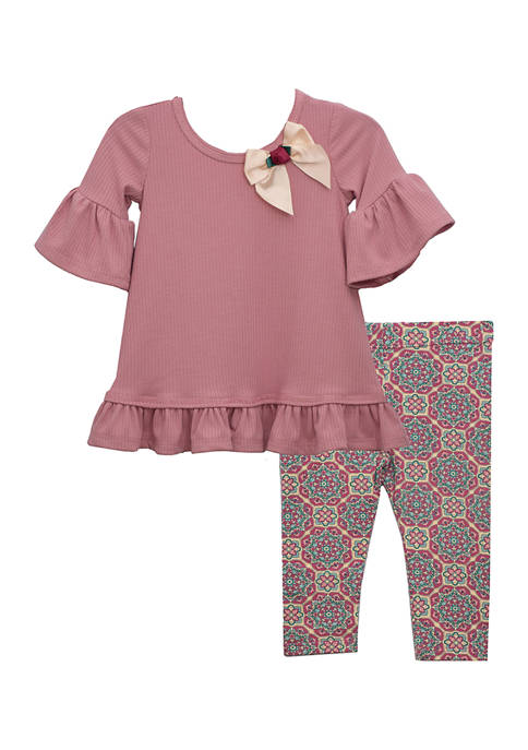 Baby Girls 2 Piece Bow Top and Leggings Set