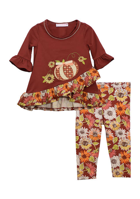 Baby Girls Harvest Pumpkin Sunflower 2 Piece Set