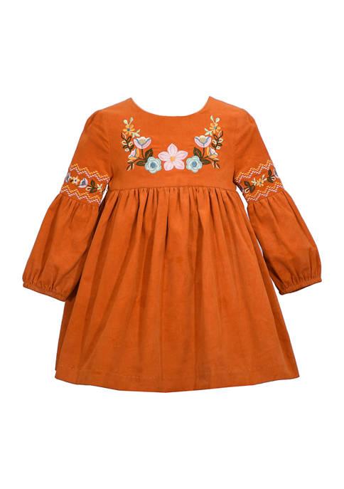 Bonnie Jean Baby Girls Flower Embroidered Dress