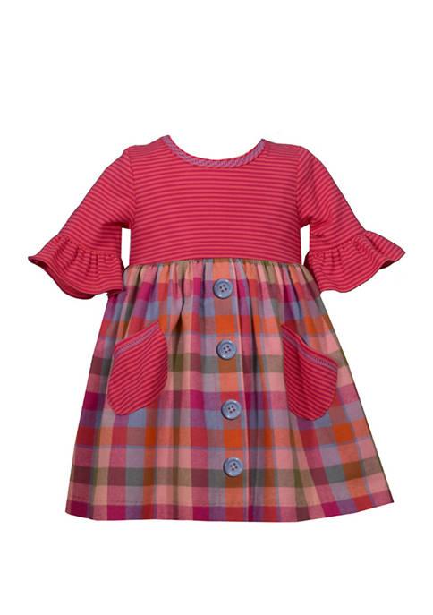 Infant Girls Plaid Flannel Baby Doll Dress