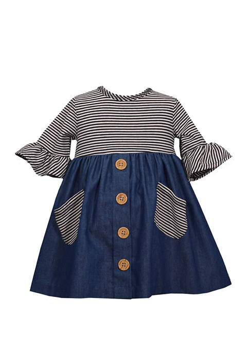 Infant Girls Denim Dress with Wooden Buttons