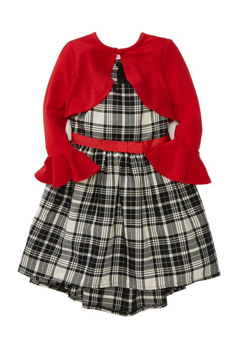 Toddler Girls Cardigan Over Plaid Dress
