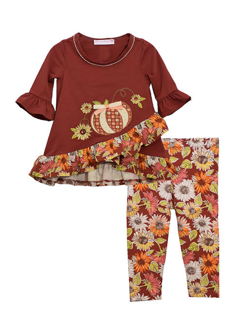 Bonnie Jean Toddler Girls Pumpkin Sunflower 2 Piece