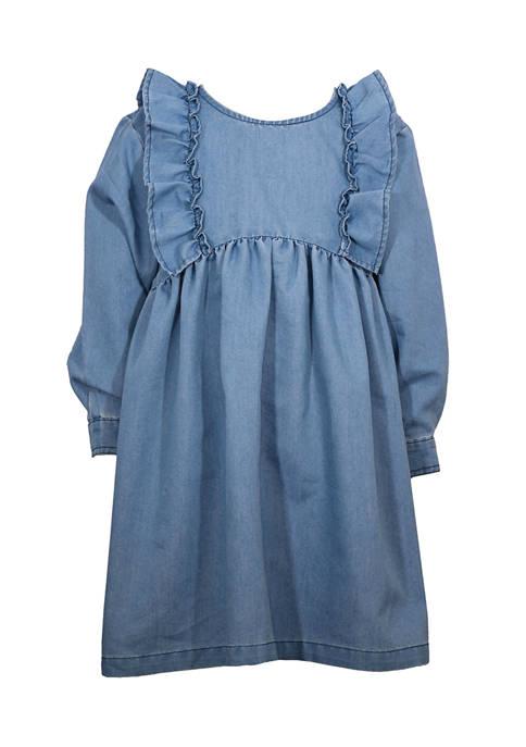 Bonnie Jean Toddler Girls Denim Ruffle Dress