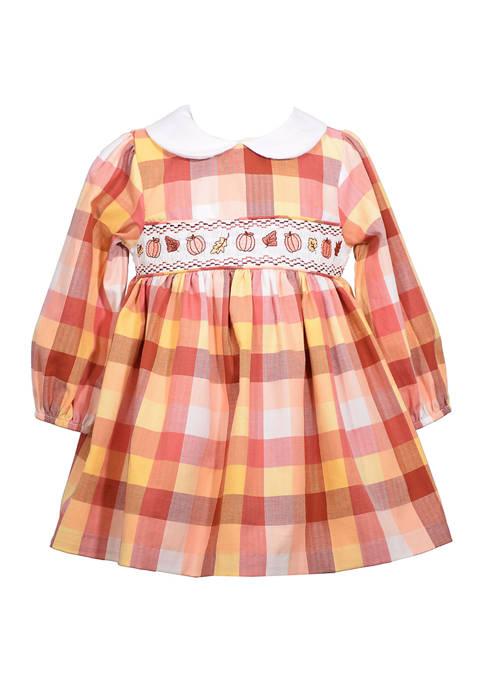 Bonnie Jean Toddler Girls Harvest Collar Smock Dress