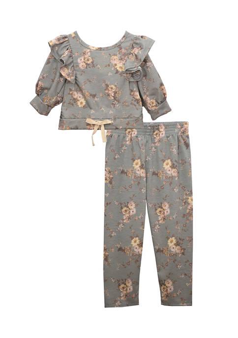 Bonnie Jean Toddler Girls Floral 3/4 Sleeve Ruffle