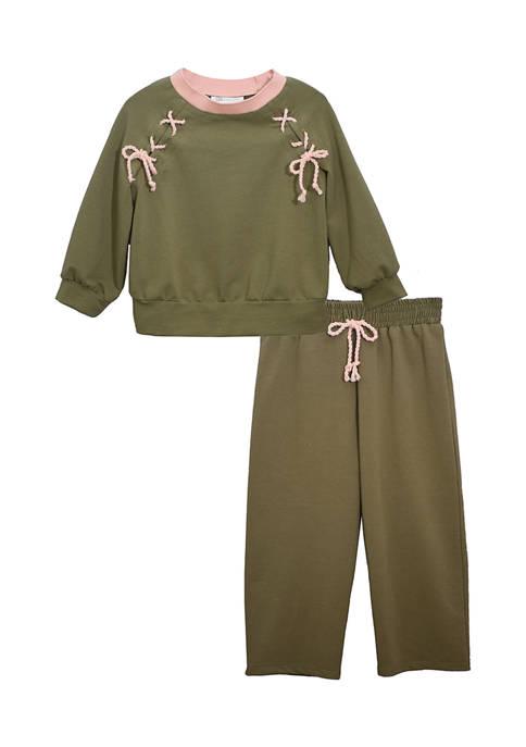 Bonnie Jean Toddler Girls Lace Up Raglan Knit
