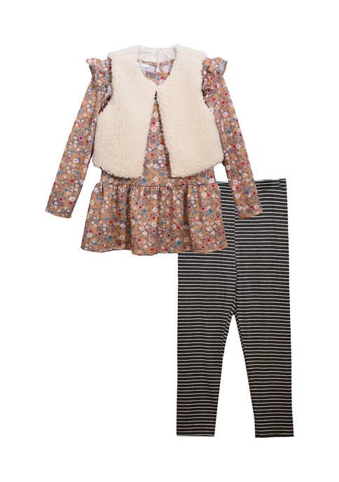 Bonnie Jean Toddler Girls 3 Piece Fur Set