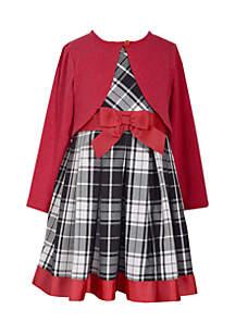 Toddler Girls Plaid Bow Waist Cardigan Dress