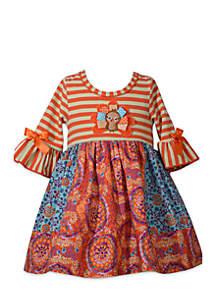 Toddler Girls Harvest Turkey Mixed Media Dress
