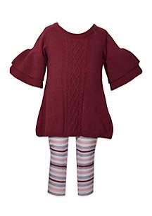 Girls 4-6x Tiered Sleeve Sweater Legging Set