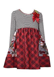 Toddler Girls Stripe Roses Plaid Mash Up Dress