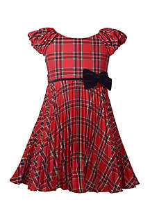 Toddler Girls Crystal Pleat Plaid Dress