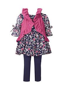 Toddler GIrls Ruffle Sweater Vest Chiffon Set
