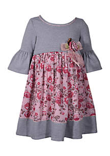 Toddler Girls Stripe to Print Babydoll Dress