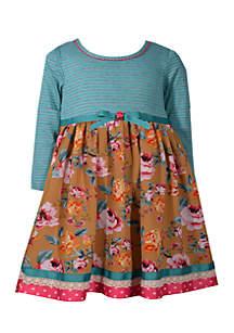 Toddler Girls Teal Stripe to Floral Ribbon Waist Dress