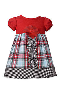 Toddler Girls Mixed Plaid Babydoll Dress with Rib Knit Top