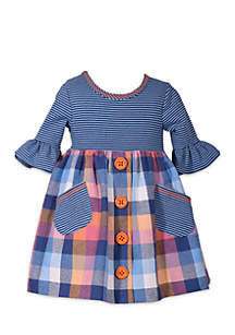 Toddler Girls Stripe Plaid Dress with Buttons