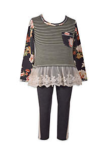 Girls 4-6x Stripe Floral Top with Flounce Set