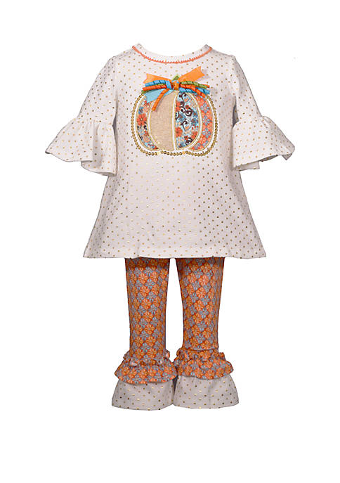 Bonnie Jean Toddler Girls Pumpkin Dot/Print Leggings Set