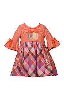 Bonnie Jean Toddler Girls Pumpkin Mixed Media Dress