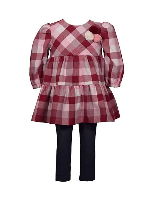 Toddler Girls Long Sleeve Flannel Buffalo Check Top and Leggings Set