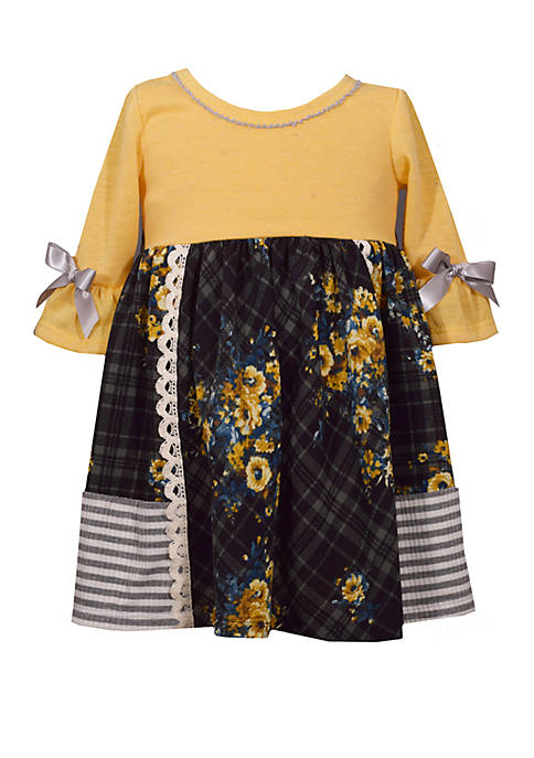 Bonnie Jean Toddler Girls 3/4 Sleeve Babydoll Dress