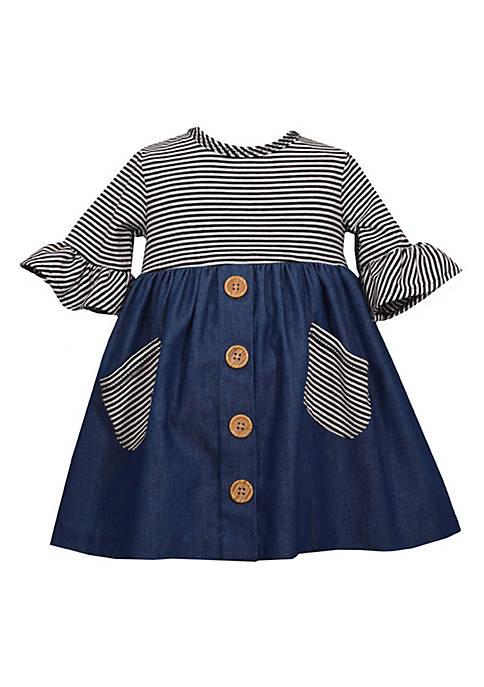 Bonnie Jean Toddler Girls Striped Empire Waist Denim