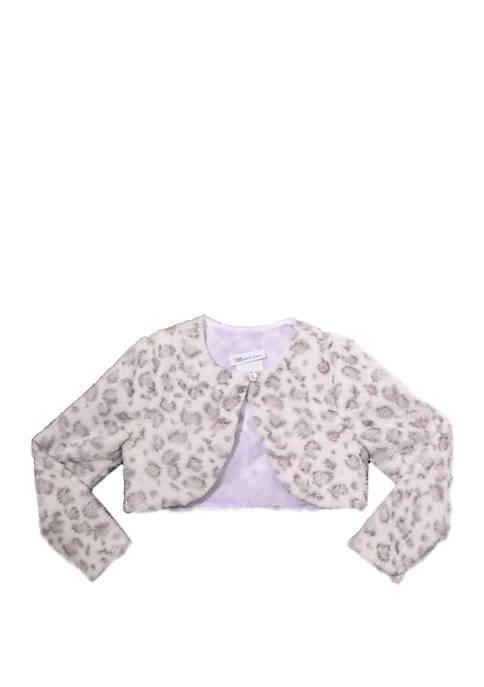 Bonnie Jean Toddler Girls Snow Leopard Print Fur