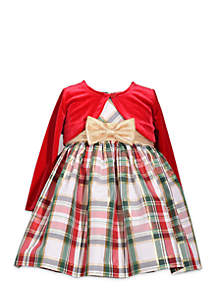 Infant Girls Red and Green Plaid Cardigan Dress
